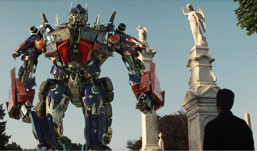 Optimus Prime talks with Sam Witwicky about fate